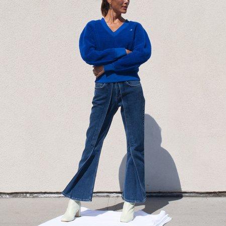 Aalto Crop Flared Denim Pant - Blue