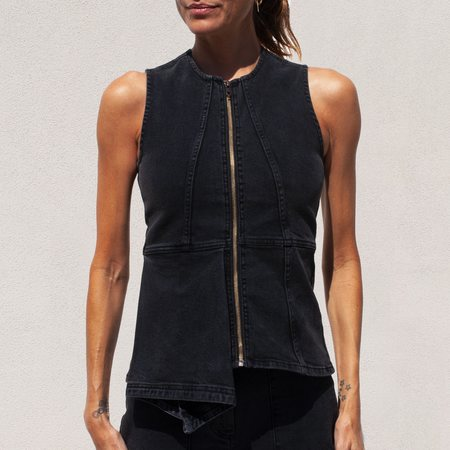 Aalto Denim Panel Top - Black