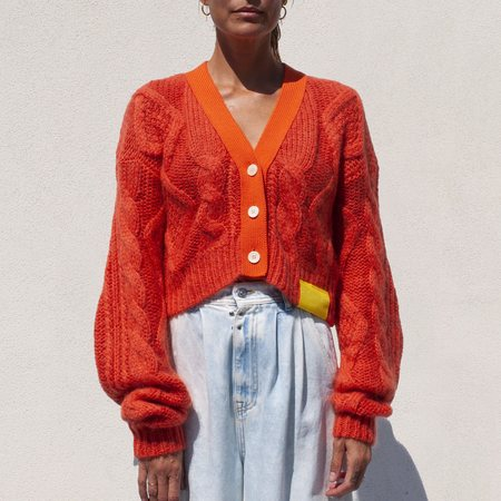 Aalto Sculptured Knit Cardigan - Neon Orange