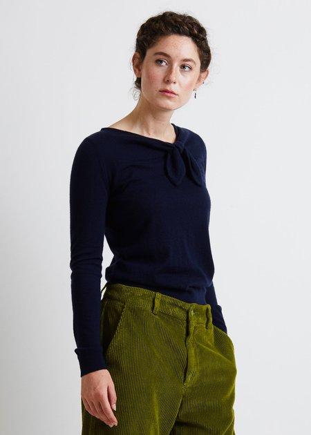 Autumn Cashmere Asymmetric Tie Neck - Peacoat