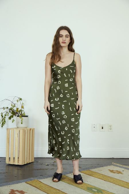 RUJUTA SHETH Frida Slip Dress - Olive