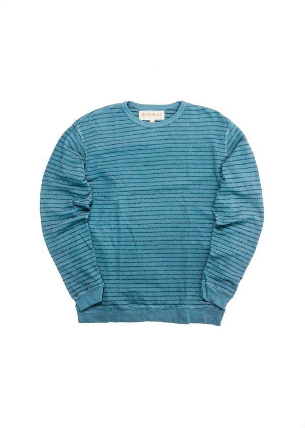 Mollusk Yarn Stripe Crew - Nippon Blue