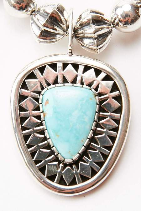 Kyle Lee-Andersen Squash Blossom Necklace - Turquoise/Sterling Silver