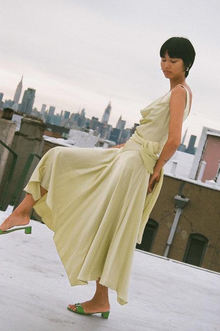 Vintage Asymmetrical Dress - Pale Lime