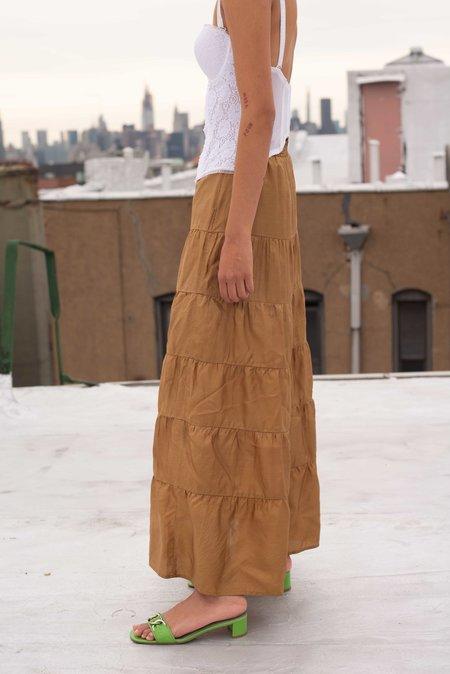 Vintage Tiered Skirt - brown