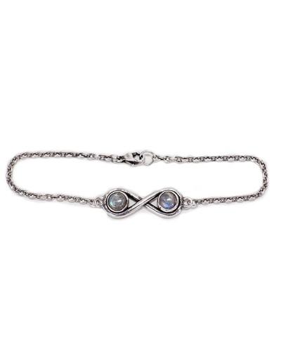 Pamela Love Silver Infinite Bracelet with Labradorite