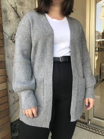 Indi & Cold Ribbed Open Cardigan - gray
