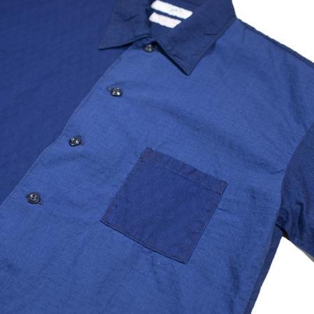 FDMTL Two Toned Short Sleeve Shirt - Blue