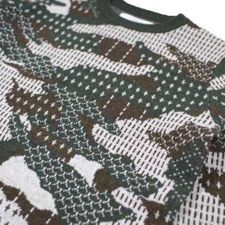 FDMTL Patchwork Wool Sweater - Khaki Camouflage