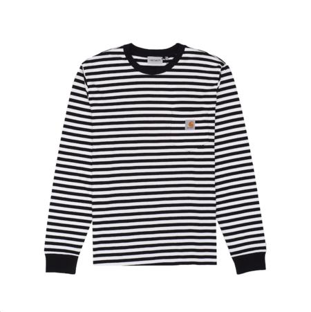 CARHARTT WIP Longsleeve Haldon Pocket T-Shirt - Black/White