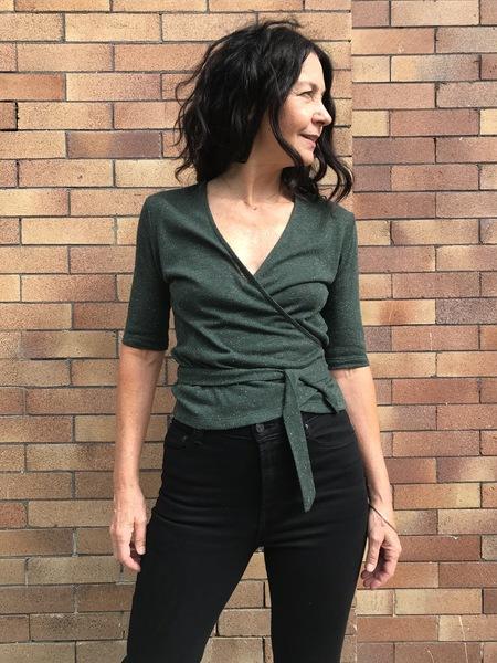 Eve Gravel Quando Wrap Top - green