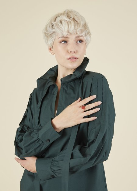 Odeeh Pleated Sleeve Tie Blouse - Forest Green