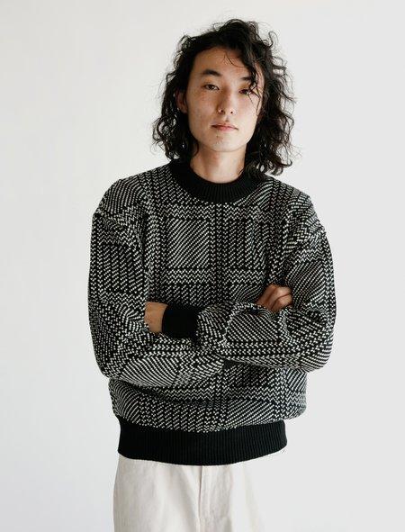 Auralee Hard Twist Merino Jacquard Knit Pullover