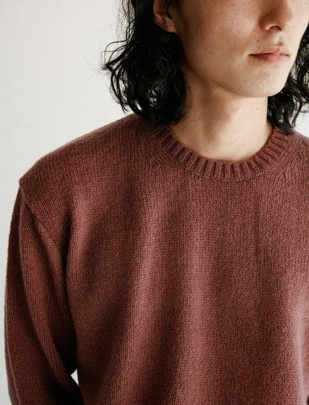 Auralee Pure Shetland Wool Pullover - Red Brown