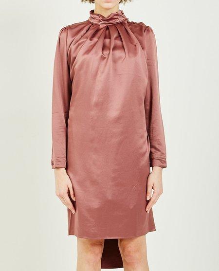 Hidden Forest HIGH NECK SHIRRING DRESS - pink brown