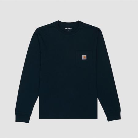 CARHARTT WIP Longsleeve Pocket T-Shirt - Duck Blue