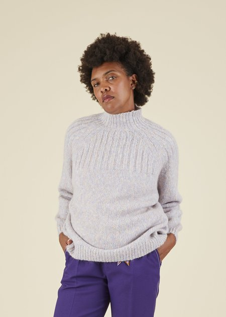 Hansel from Basel Cybil Mock Neck Sweater - Heather Lilac