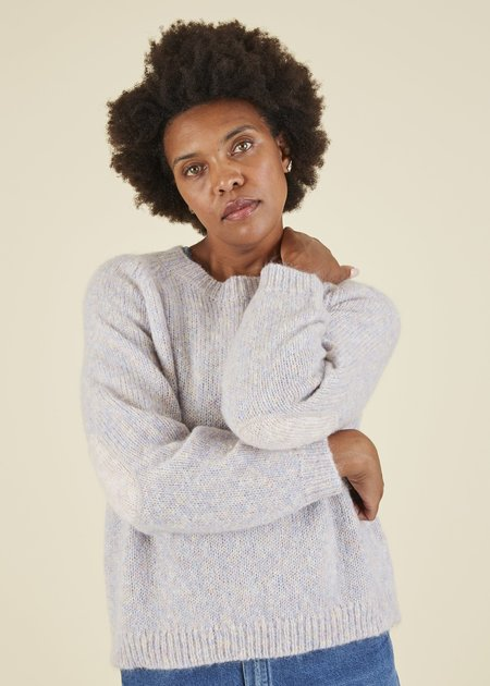 Hansel from Basel Patches Knit Sweater - Heather Lilac