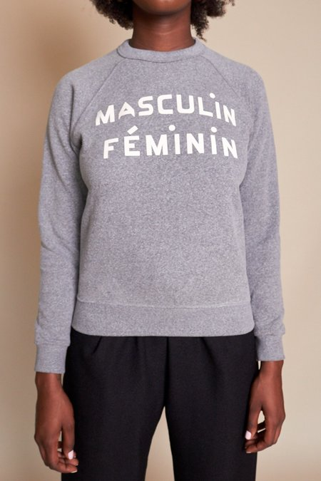 Clare V. Masculin Feminin Sweatshirt - Grey Cream