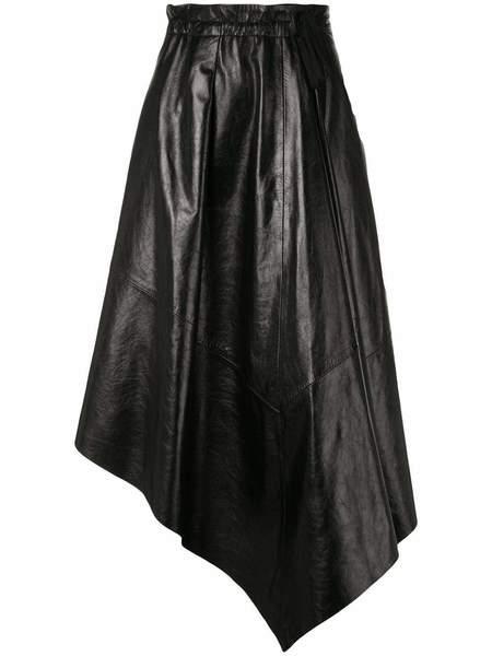 PROENZA SCHOULER Shiny Leather Asymmetrical Mid Length Skirt - Black