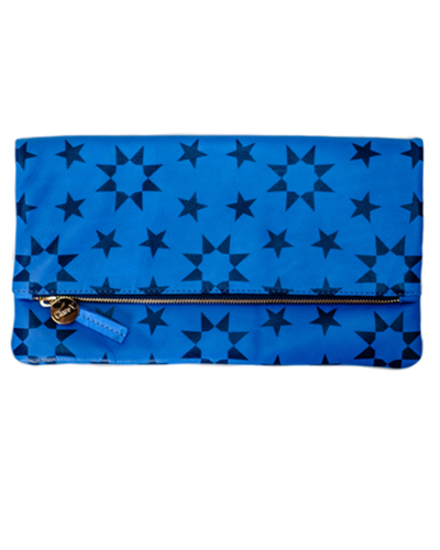 Clare Vivier Foldover Clutch - Cobalt Leather with Navy Moor Print