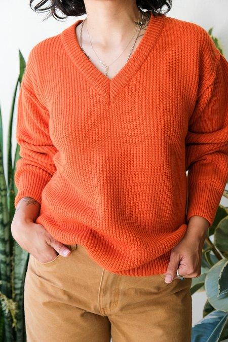 Girls of Dust Oversized V-Neck Sweater - Orange