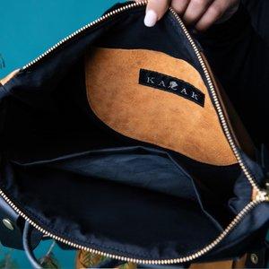 Kazak Hobart Teal Monarch Japanese Fabric Leather Backpack - Black/Brown