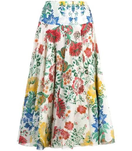 Samantha Sung Aster Upholstery Long Floral Pattern Skirt - Ivory/Multi