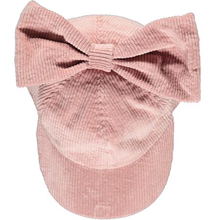 Kids Caroline Bosmans Corduroy Cap With Bow - Pink