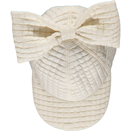 Kids Caroline Bosmans Quilted Cap With Bow - Off White