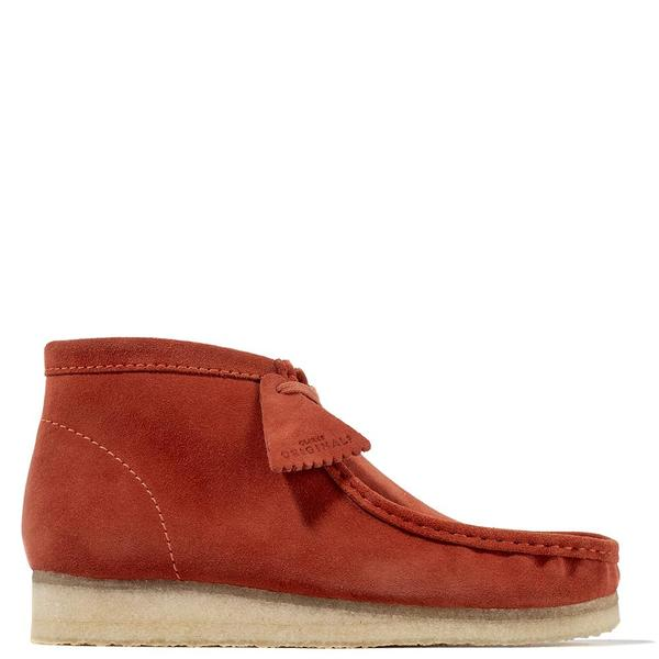 closer at on feet shots of undefeated x Clarks Suede Wallabee Boot - Burnt Orange on Garmentory
