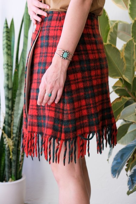 Carleen One Of A Kind Wool Wrap Skirt - Red Plaid