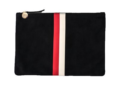 Clare Vivier Flat Clutch - Black Nubuck w/ Red + Cream Stripes