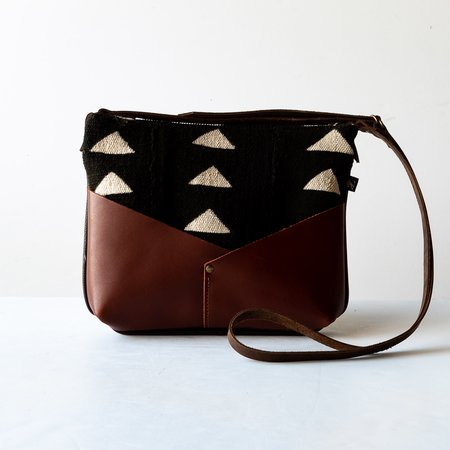 Kazak Woodstock Mini Bag in Recycled Leather and African Bogolan Fabric - BROWN