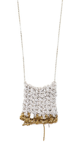 Arielle de Pinto Square Inch Drop Necklace in Silver and Gold