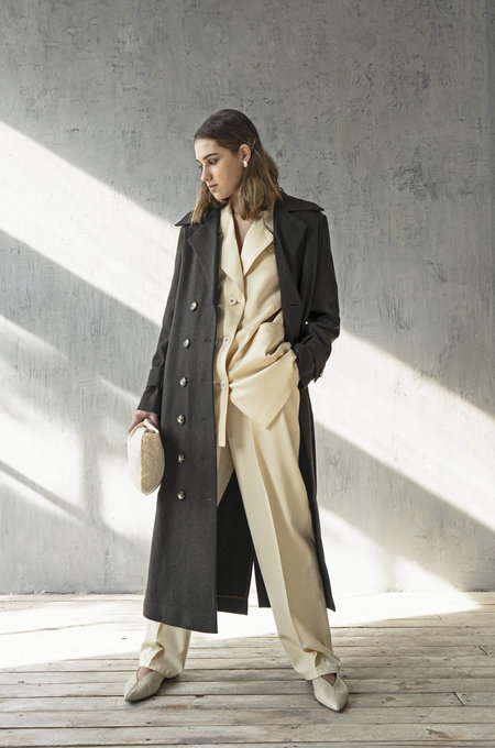 K M by L A N G E WOOL CLASSIC TRENCH COAT - CHOCOLATE