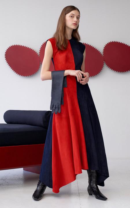 Alejandra Alonso Rojas Suede Two Tone Midi Dress - Red/Midnight