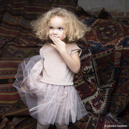 kids mademoiselle à soho duo dress - peach velvet