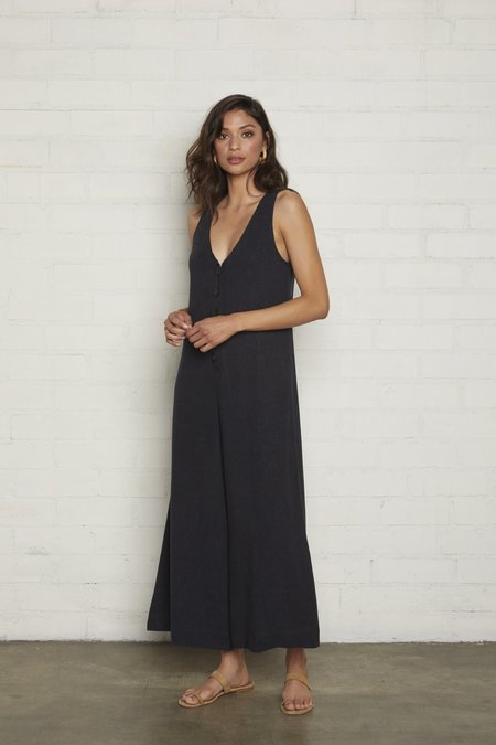 Rachel Pally Linen Button Front Jumpsuit - Black
