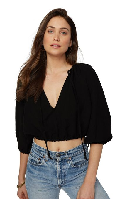 Rachel Pally Linen Cleo Top - Black