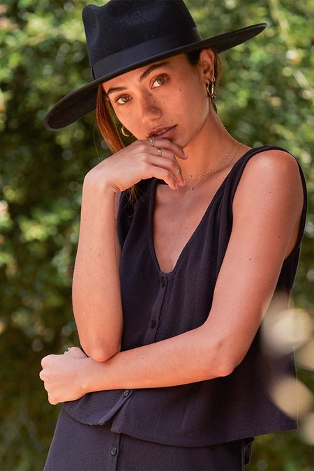 Rachel Pally Pucker Rayon Allison Top - Faded Black