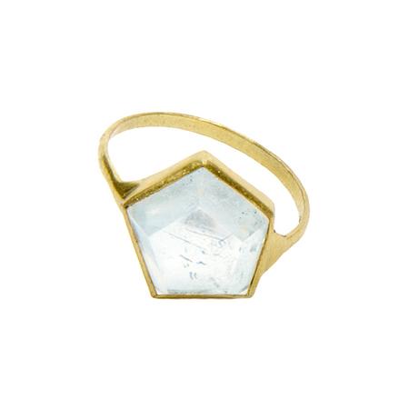 Aesa 3D Aqua Hex Ring - Gold