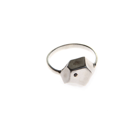 Aesa Pyrite Ring with Black Diamond - Silver