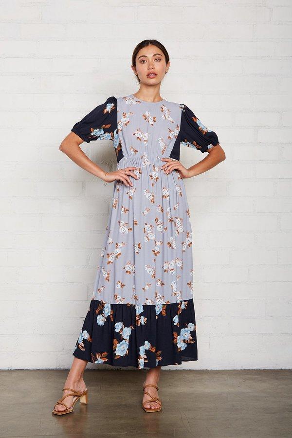 Rachel Pally Crepe Regina Dress - Black/Blue Flower