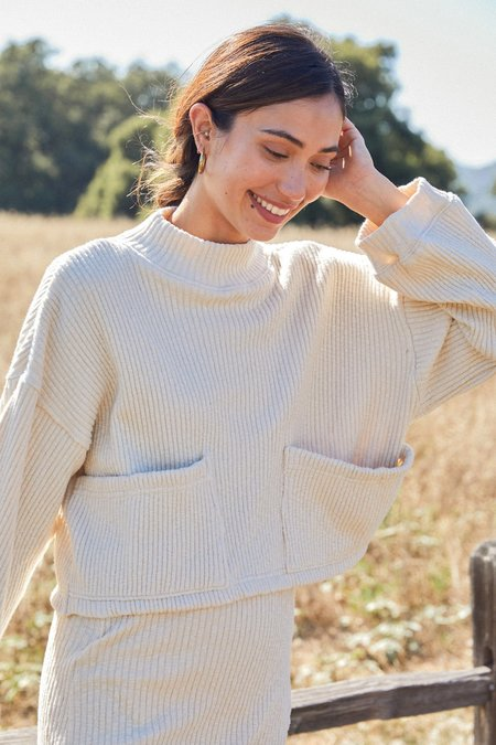 Rachel Pally Sweater Rib Jude Top - Oatmeal