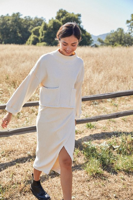 Rachel Pally Sweater Rib Lolo Skirt - Oatmeal