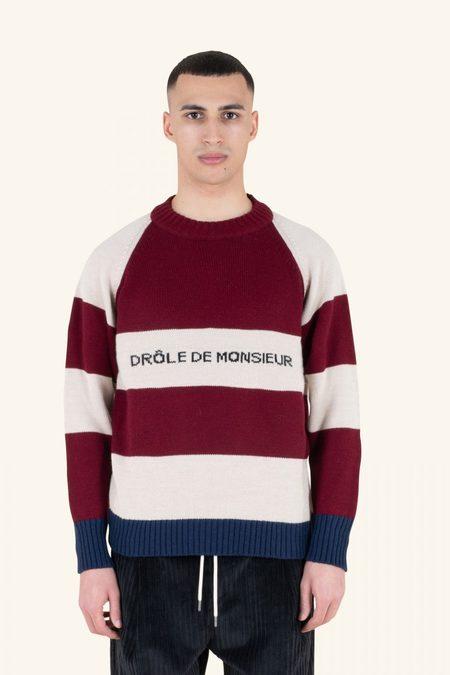 Drôle de Monsieur Striped Crewneck Sweater - Burgundy