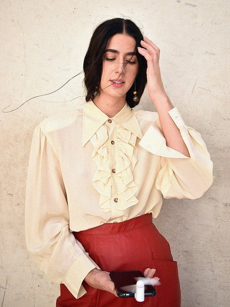 Vintage Noons Front Frill, Point Collar Blouse