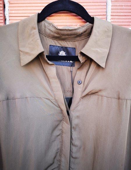 Berenik LONG CUPRO BLOUSE DRESS - khaki