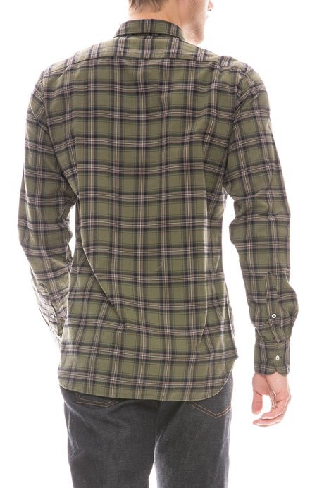 Bevilacqua David Check Shirt - Olive Mix